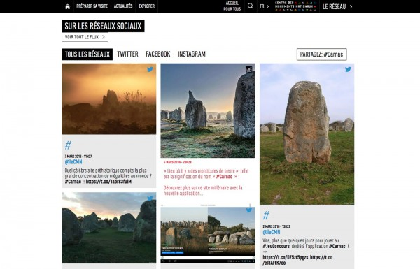 Centre des monuments nationaux CMN site web billetterie visite carnac balade instagram twitter vine facebook youtube