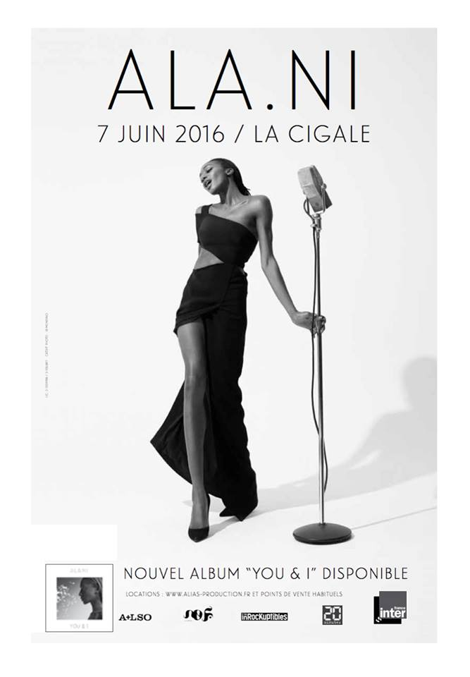 Affiche concert Ala.Ni à la Cigale Paris le 7 juin 2016 album You and I No Format alias production photo Jean-Baptiste Mondino