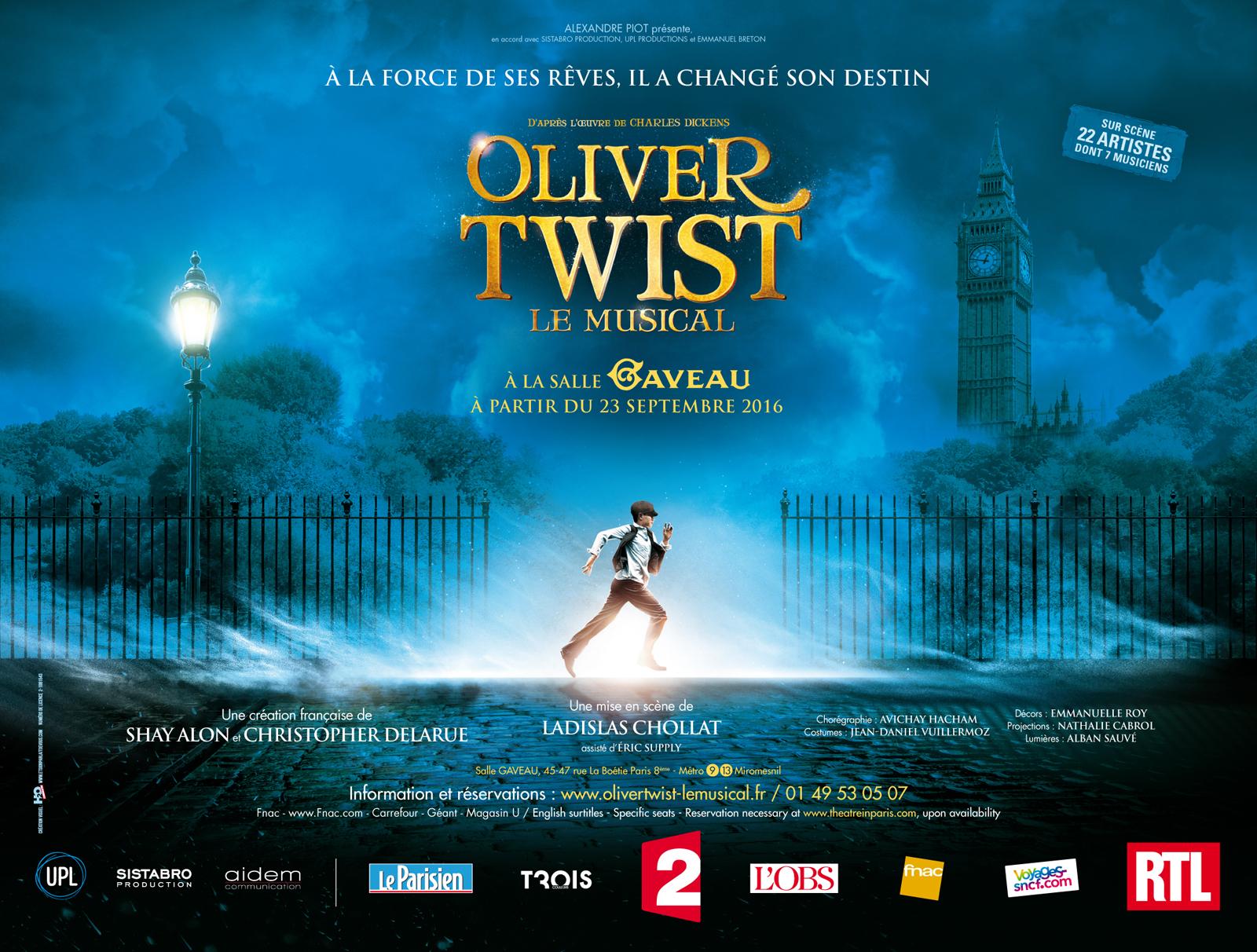 Affiche-spectacle-Oliver-Twist-le-musical-Salle-Gaveau-Paris-à-partir-du-23-septembre-2016-création-française-de-Shay-Alon-Christophe-Delarue-mise-en-scène-Ladislas-Cholat-Charles-Dickens