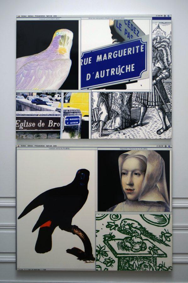 Marguerite d'Autriche, Jeune fille et L'amant vert, rue Marguerire d'Autriche - Raymond Hains, 1999