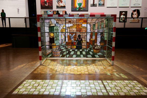 Finale by Wim Delvoye 1990 acier vitraux collection du CAPC Musée d art moderne de Bordeaux Foot Foraine Villette La Grande Galerie exposition Euro 2016