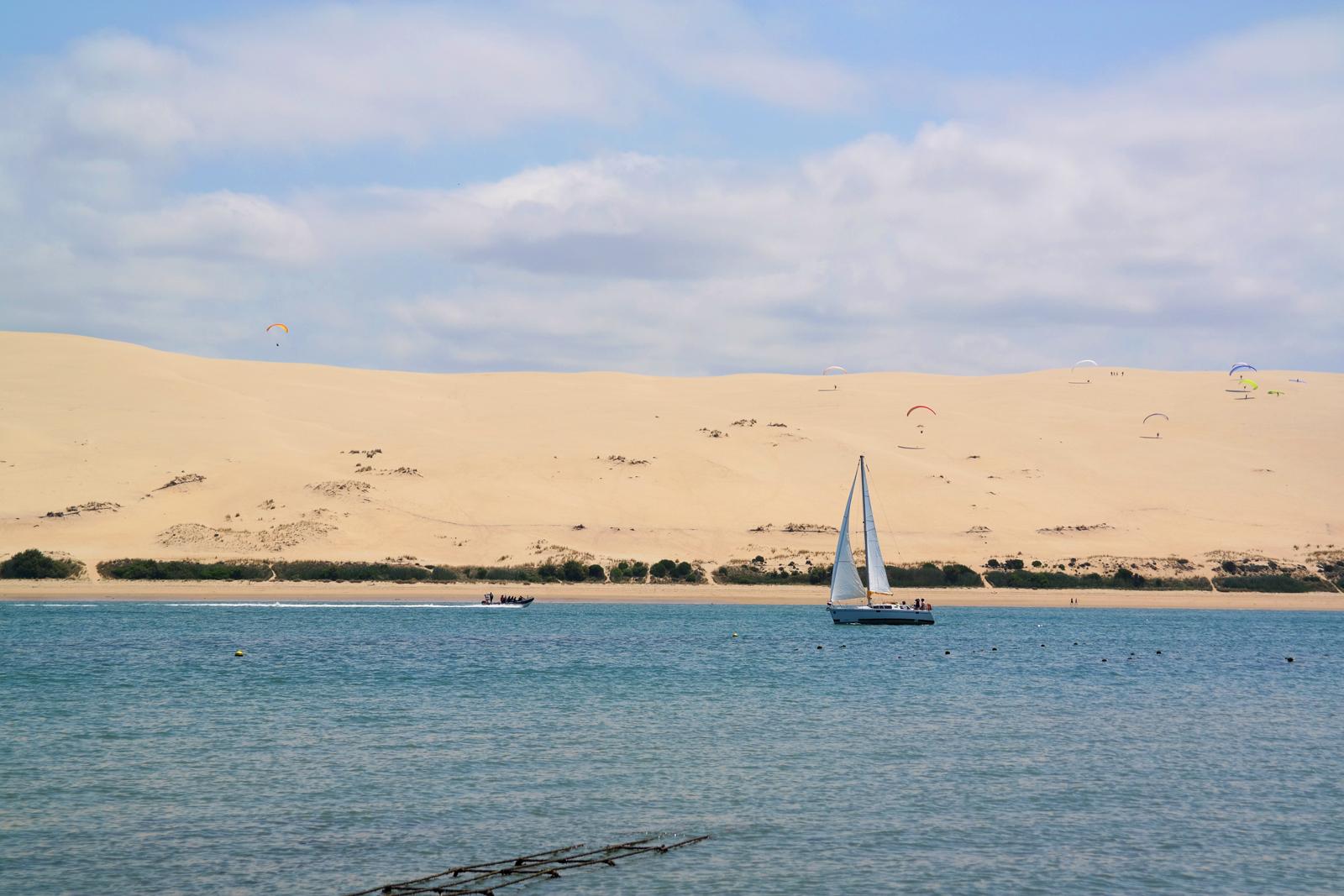 Vue sur la Dune du Pilat voilier et parapente Bassin d arcachon tourisme vacances sortie ostreiculture photo usofparis blog