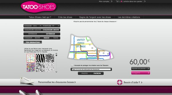 chaussurre personnalisée tatoo shoes création personnalisationThreadless spreadshirt avis blog united states of paris