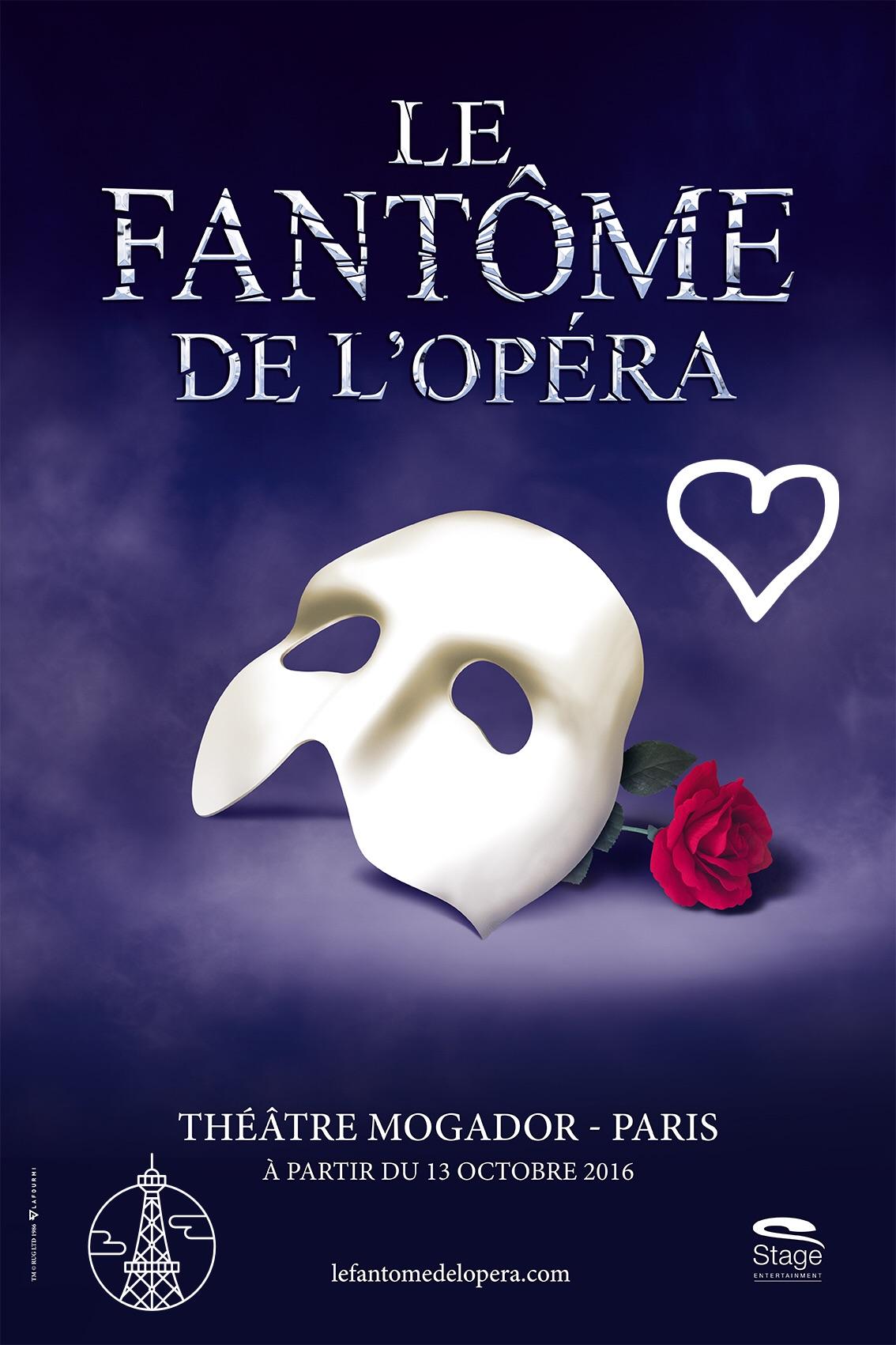 Le Fantome de l opéra affiche comédie musicale culte à partir du 13 octobre 2016 Théâtre Modagor Paris The phantom of the opera musical blog usofparis