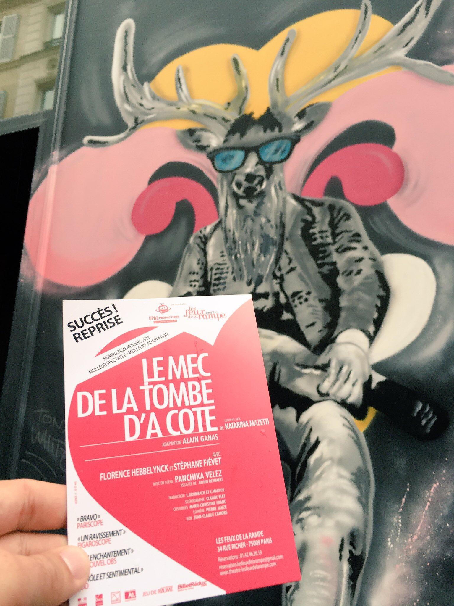 Le mec de la tombe d a coté Théâtre Les Feux de la Rampe Paris mise en scène Panchika Velez avec Florence Hebbelynck Stéphane Fievet affiche photo usofparis blog