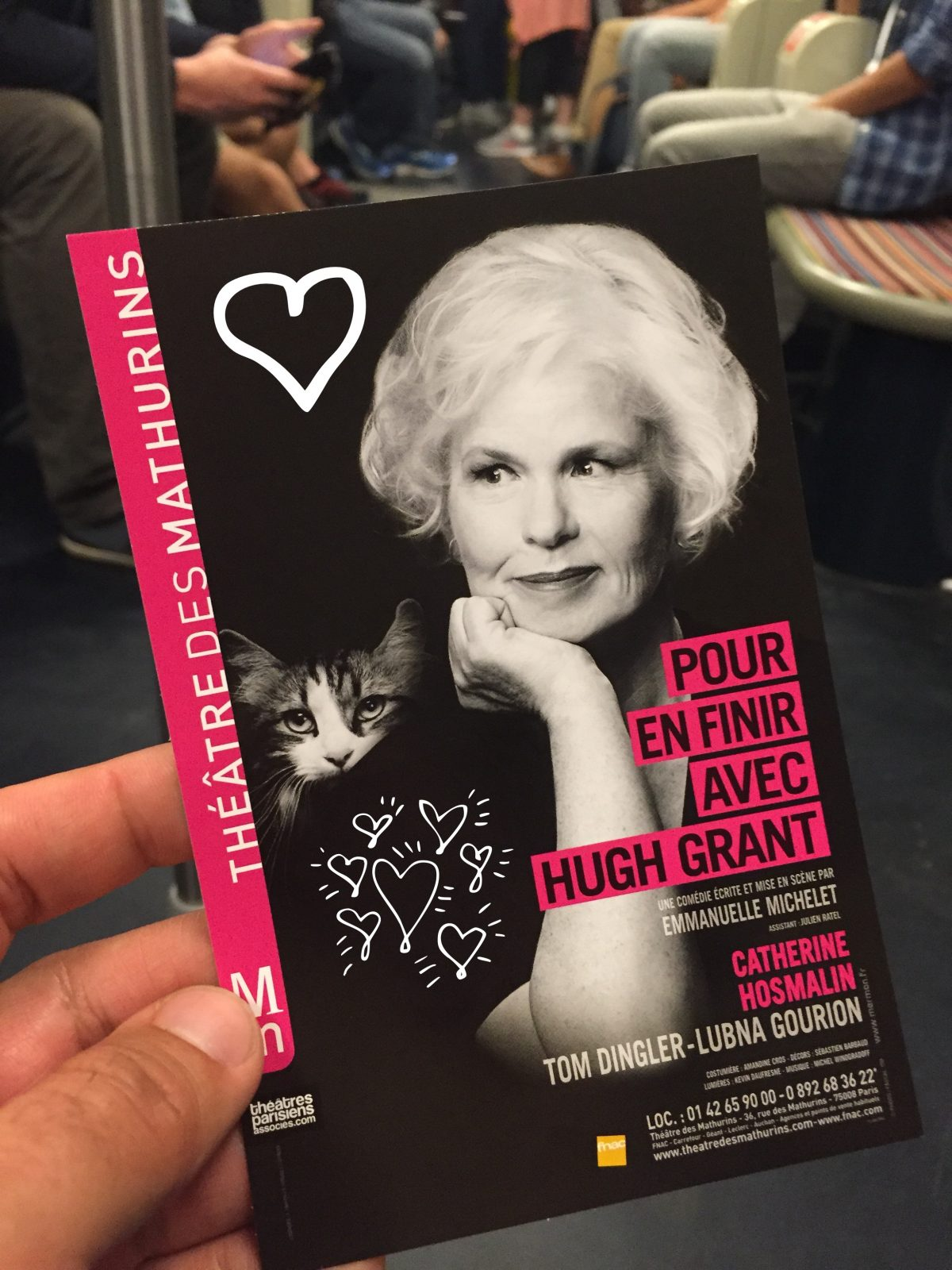 Pour en finir avec Hugh Grant avec Catherine Hosmalin Tom Dingler Lubna Gourion Théâtre des Mathurins affiche coeurs photo usofparis blog