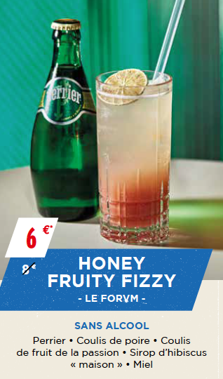 Honey Fruity Fizzy Bar Le Forvm création cocktail Perrier Paris Cocktail Week 2017