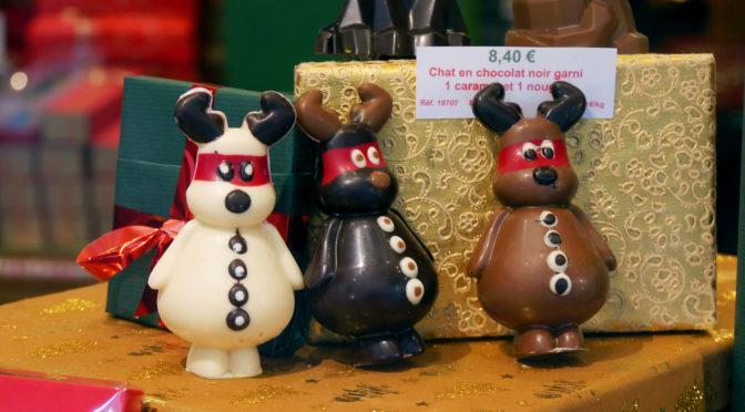 Jadis et Gourmande : fauteuil du Père Noël, tresse & renne en chocolat